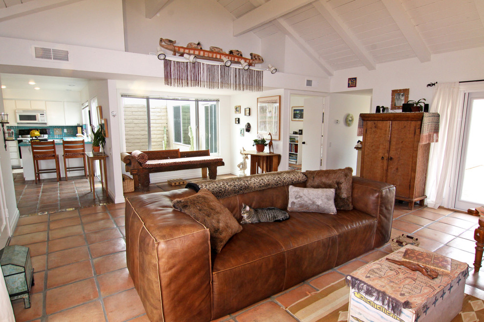 Leather Couch Grounds Open Living Room