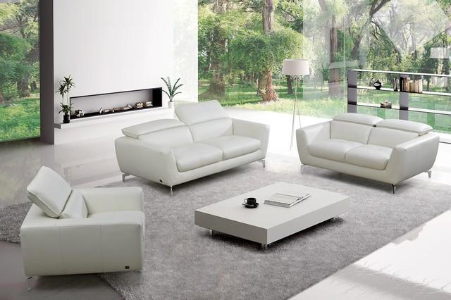 Bond Modern Sofa Set White Leather