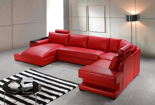 Bonded Leather Sectional Sofas With Light Modern