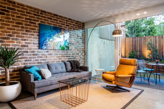 Bondi Bachelor Pad Midcentury Living Room Sydney