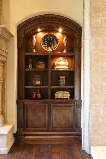 Book display cabinet mediterranean living room san diego by quality woodworks inc for Living room display cabinets designs