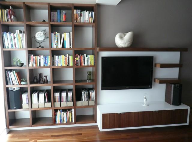 Bookcase and media center design for Media center with bookshelves