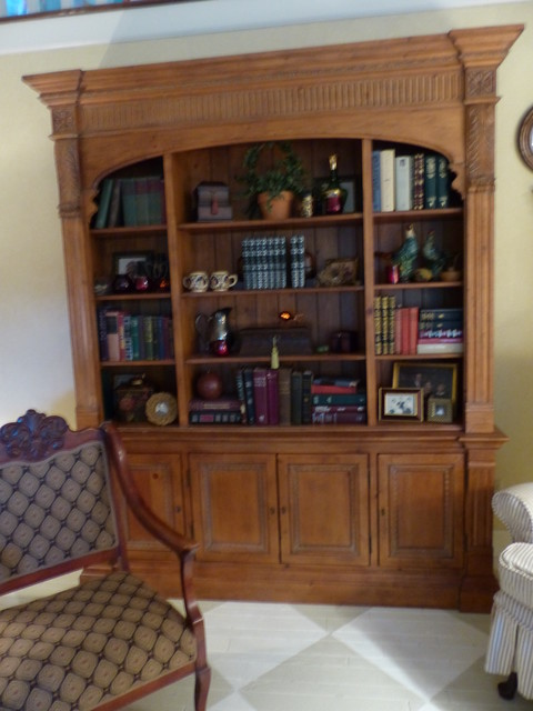 Bookcase Before And After Traditional Living Room