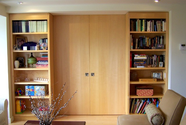 Bookcase Divider Wall With Pocket Doors Contemporary Living Room
