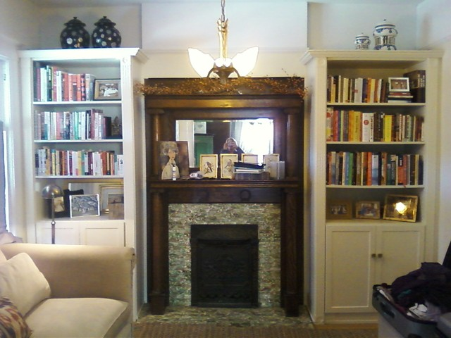 Bookcase Library Traditional Living Room Denver By