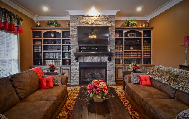 bookcases stain glazed and distressed eclectic living room by kirkland custom cabinets inc. Black Bedroom Furniture Sets. Home Design Ideas