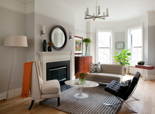 Boston Brownstone Contemporary Living Room