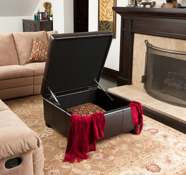 Boston Espresso Leather Storage Ottoman Modern Living Room