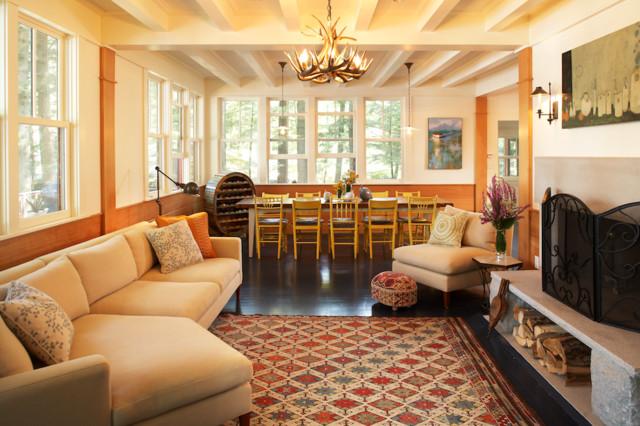 Boston home magazine lake house beach style living room boston