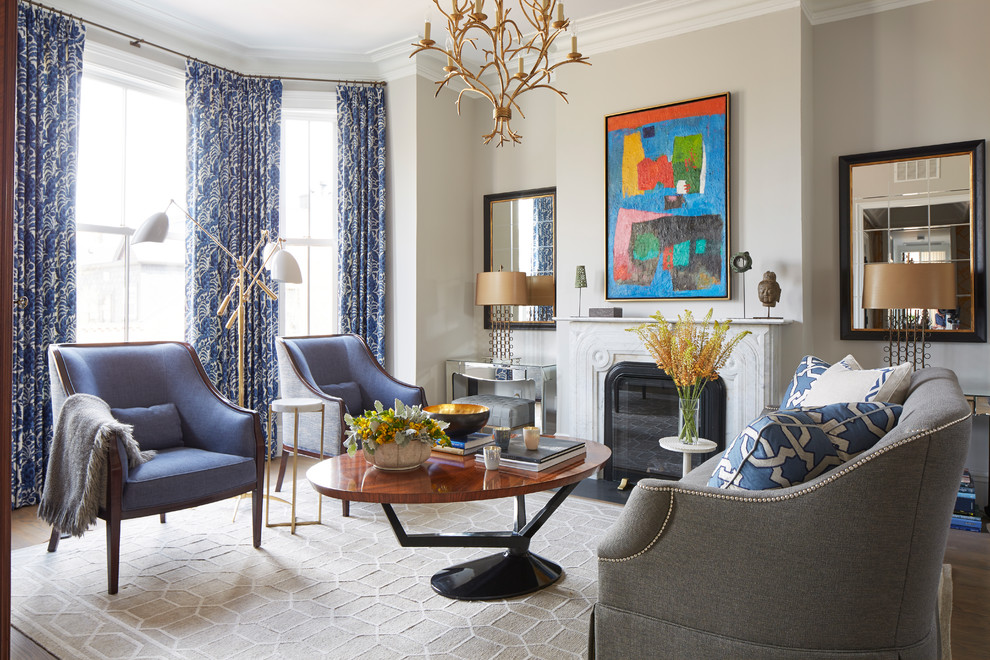 Mid-sized transitional formal dark wood floor living room photo in Boston with gray walls, a standard fireplace and no tv
