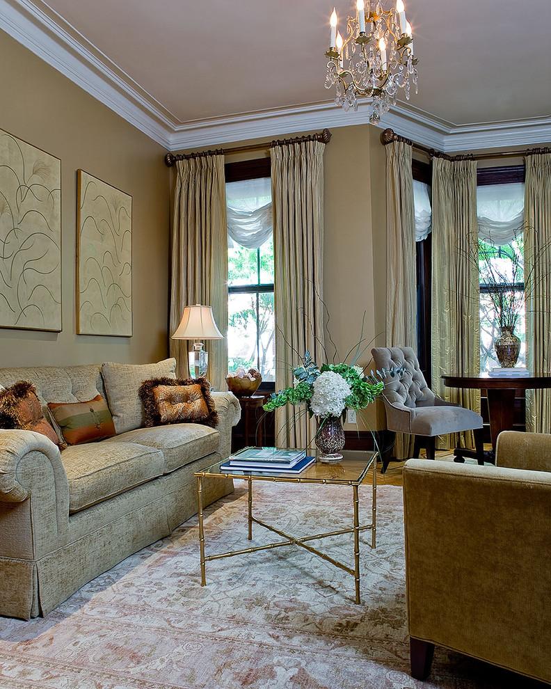 Elegant formal living room photo in Boston with beige walls