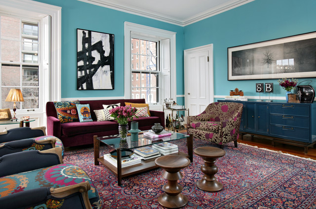 Boston Townhouse Renovation Eclectic Living Room