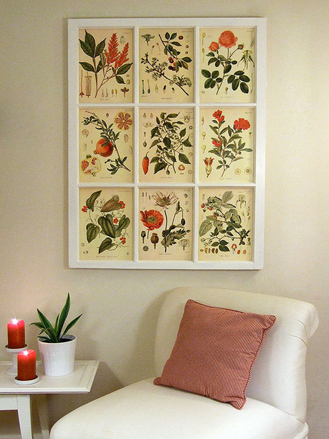 Botanical prints and salvaged window contemporary living room
