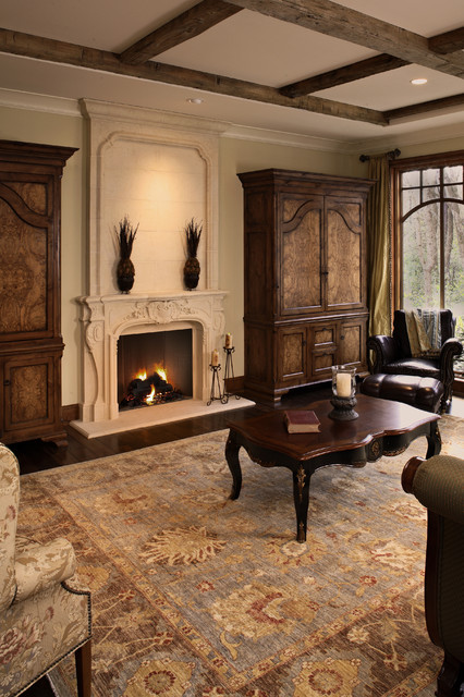 Bourges Mantel with Custom Overmantel traditional-living-room