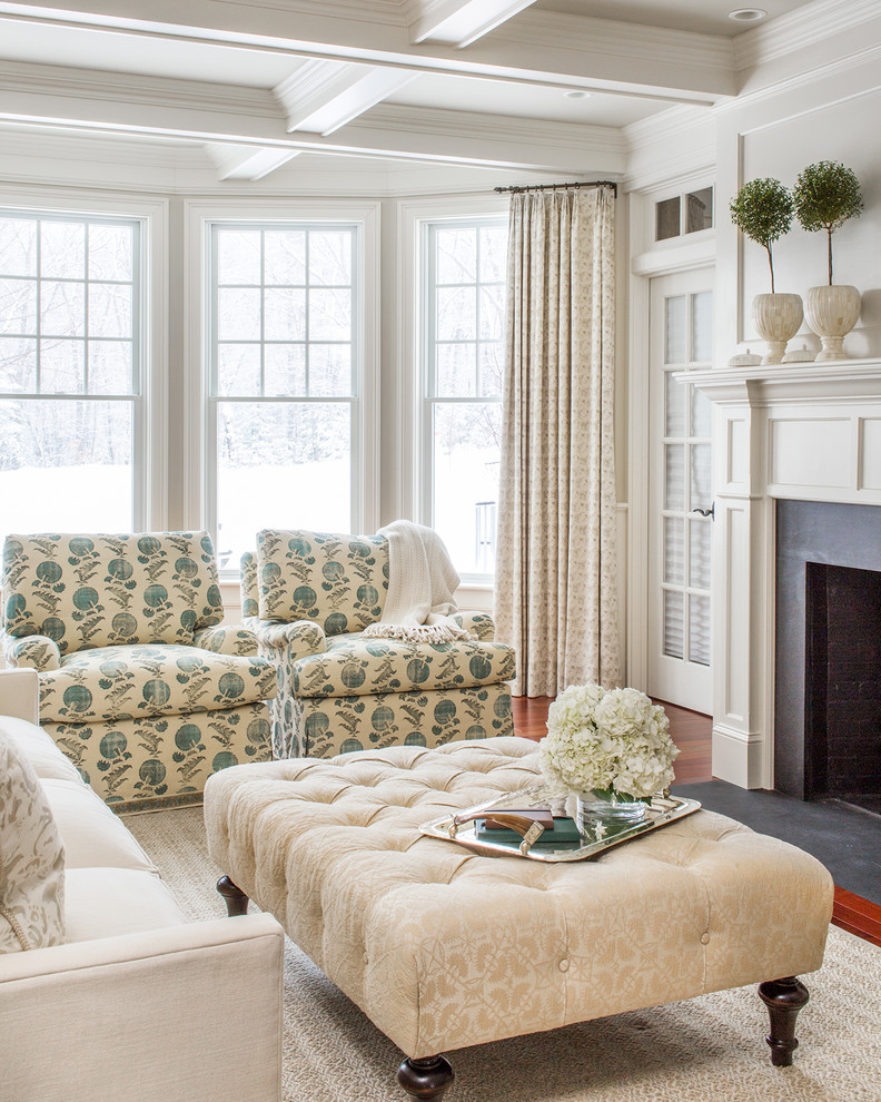 Inspiration for a timeless formal medium tone wood floor living room remodel in Boston with white walls and a standard fireplace