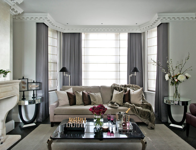 Transitional Dark Wood Floor Living Room Photo In London With Gray Walls And A Standard Fireplace