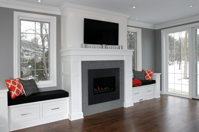 Bradford renovation traditional family room for Fireplace with windows on each side