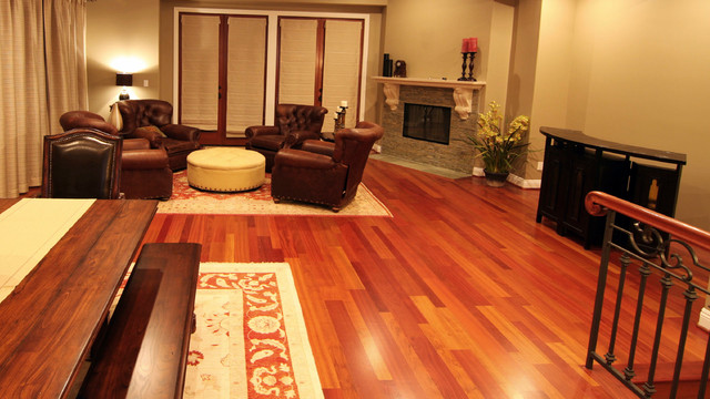 Brazilian Cherry Hardwood Flooring Transitional Living Room Raleigh