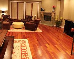 Brazilian Cherry Hardwood Flooring. transitional-living-room