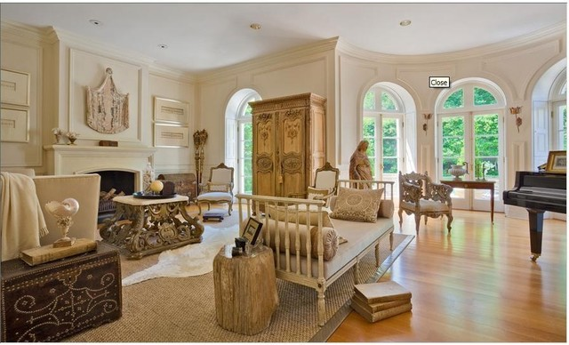 Breakfast nook curved area with french doors traditional living room - French doors in dining room interior design ...