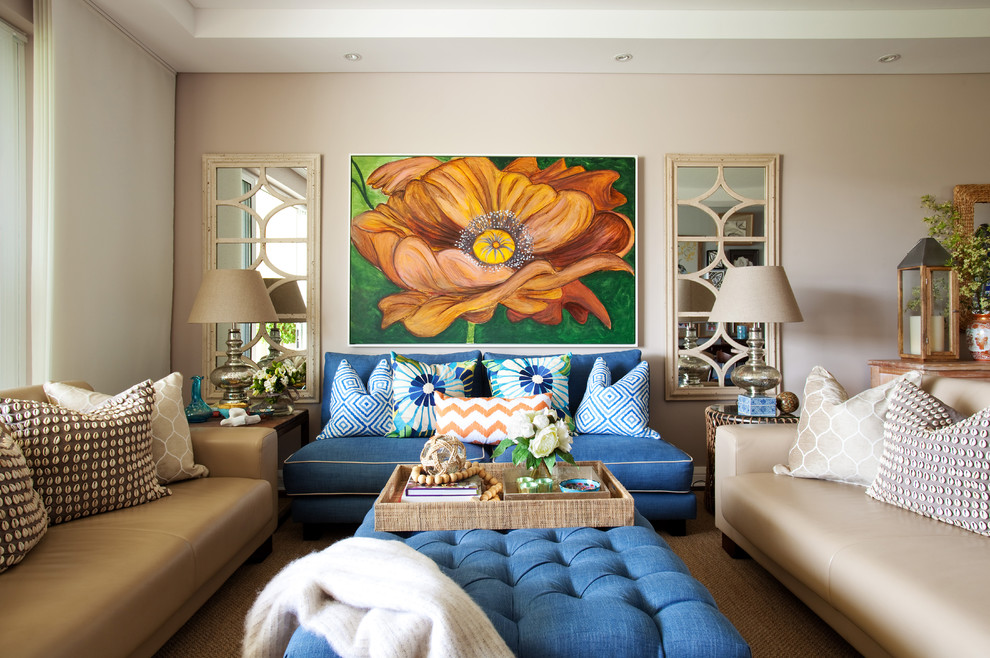 Example of a mid-sized eclectic formal and open concept living room design in Sydney with beige walls and no fireplace