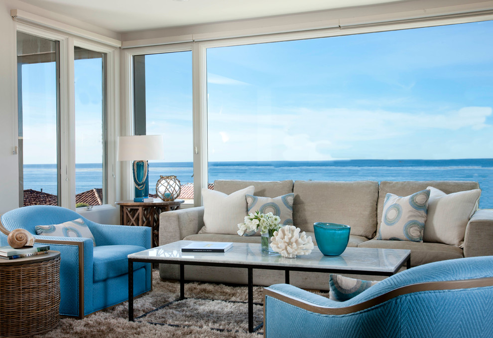 Example of a coastal formal living room design in San Diego