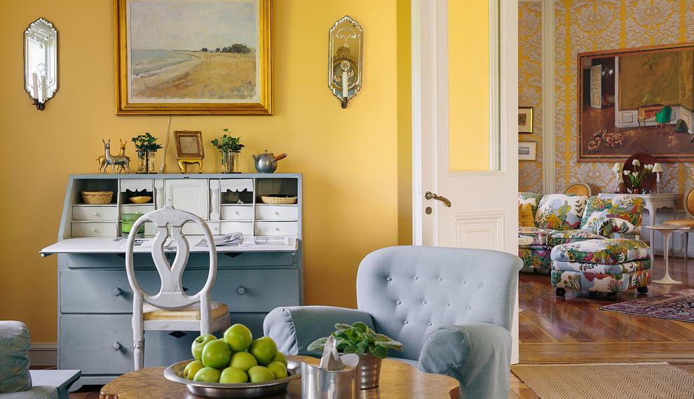Inspiration för ett vintage vardagsrum