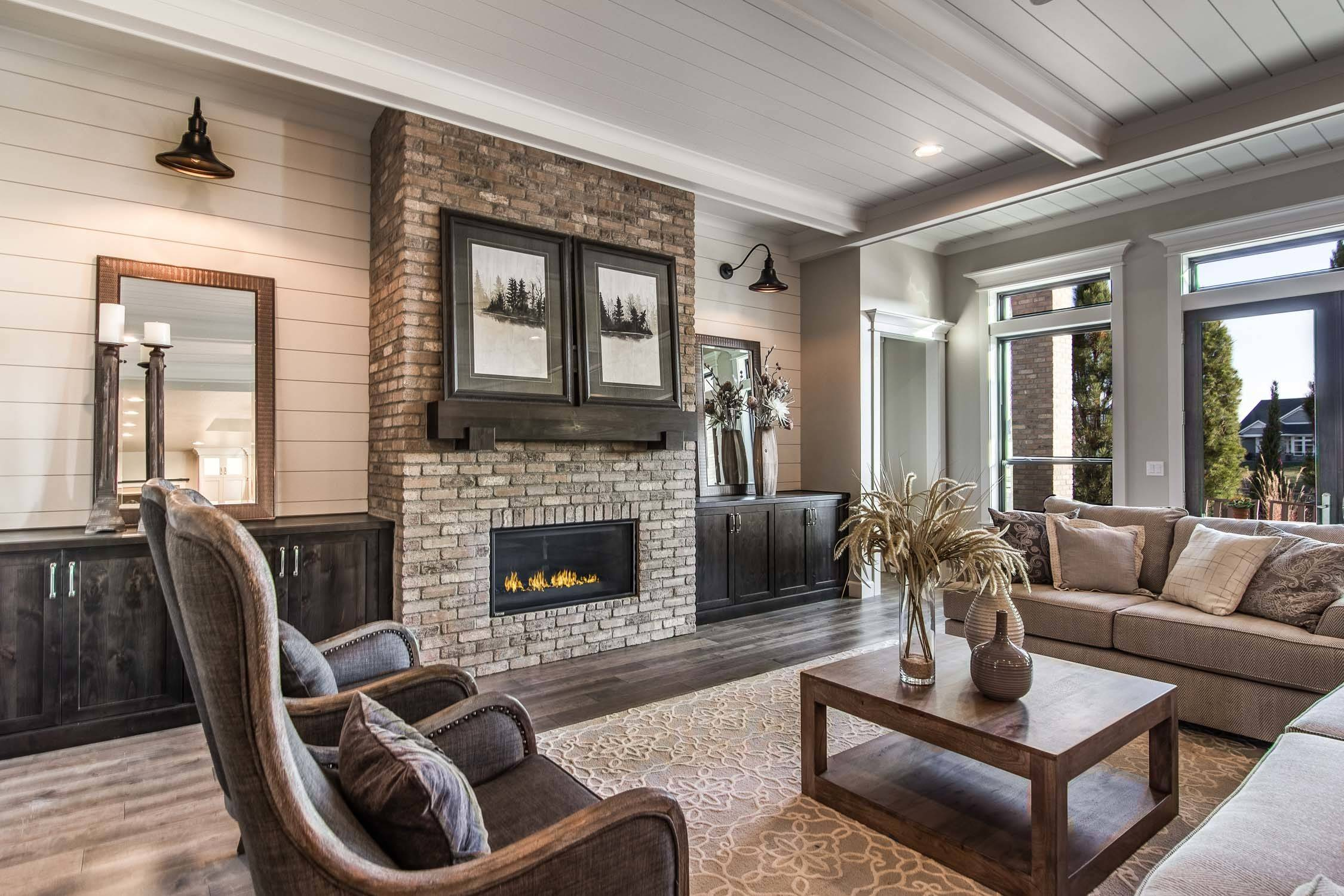 75 Beautiful Farmhouse Living Room With A Brick Fireplace Pictures Ideas February 2021 Houzz