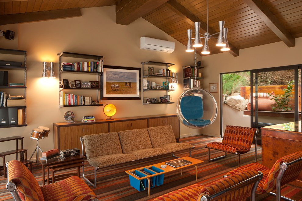 Inspiration for a mid-sized 1950s enclosed carpeted living room remodel in Los Angeles with a music area, beige walls, no fireplace and no tv