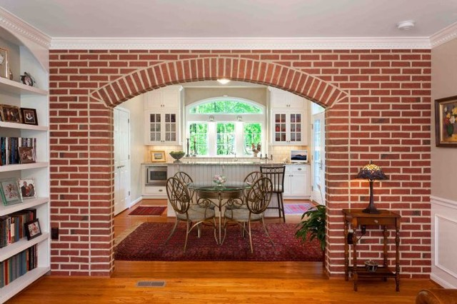 Brick Archway from Living Room to Kitchen traditional living room  Traditional