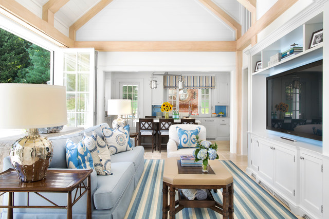 Inspiration For A Timeless Open Concept Living Room Remodel In New York  With White Walls