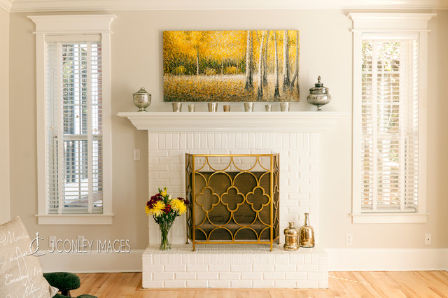 Brick Fireplace Traditional Living Room Other Metro