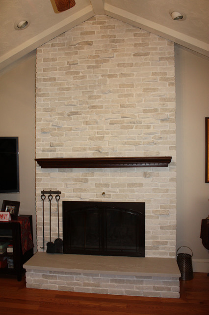 Brick Fireplace Transformation traditional-living-room