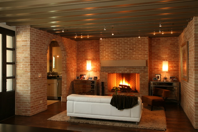 What to do with brick walled family room Brick fireplace wall decorating ideas