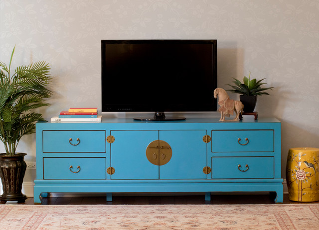 Bright Blue Tv Stand Cabinet Chinese Ming Style Asian Living Room