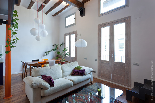 Bright living and dining space contemporary-living-room
