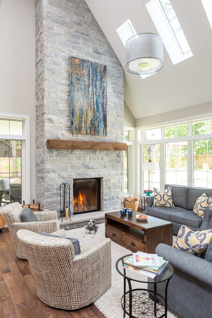 Bright Living Room With High Ceiling