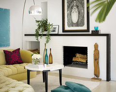 Bright White Fireplace contemporary living room