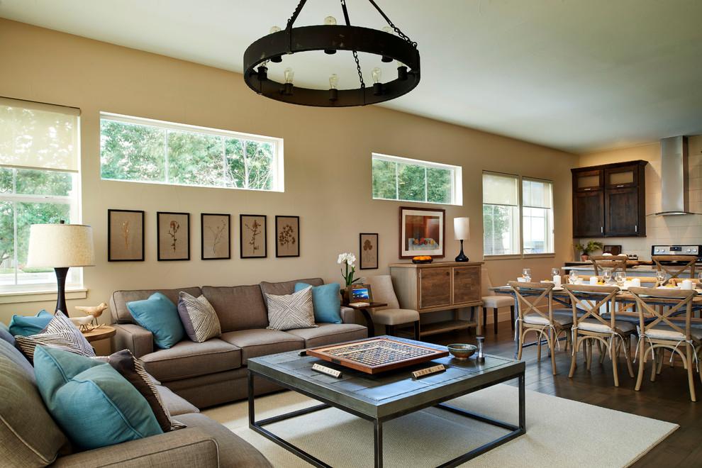 Living room - transitional formal and open concept dark wood floor living room idea in Denver with beige walls