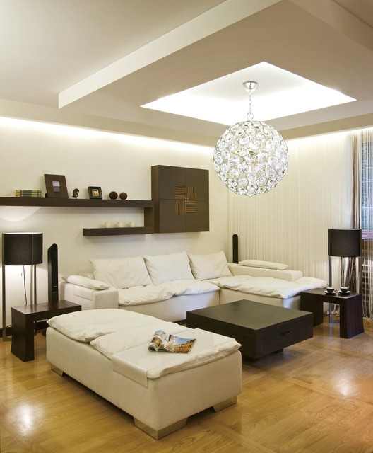 Light Filled Contemporary Living Rooms: Brilliant Round Crystal Pendant Ball Chandelier Modern