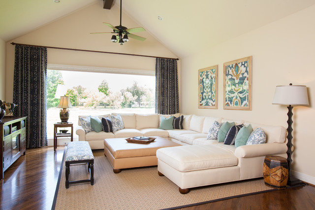 Photo Of A Large Traditional Open Plan Living Room In Houston With Beige  Walls And Medium