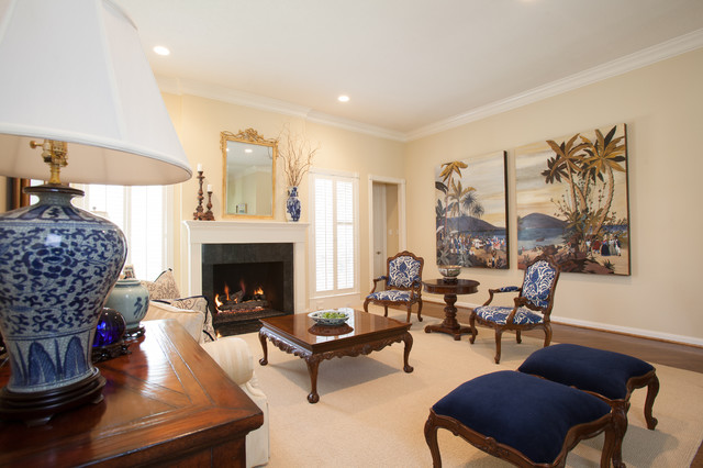 British Colonial Traditional Living Room Houston