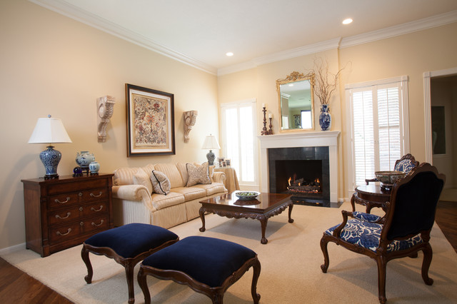 Inspiration For A Large Timeless Formal And Open Concept Medium Tone Wood  Floor Living Room Remodel