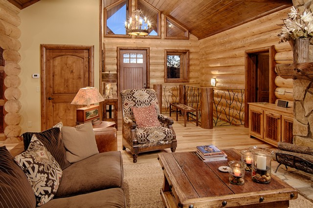 Broken bow ok rustic living room dallas by satterwhite log homes - Rustic apartment interior wrapped in contemporary and traditional accent ...