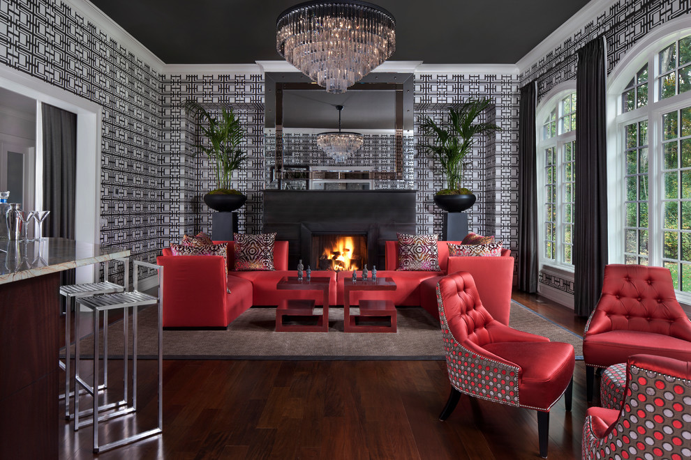 Living room - contemporary open concept dark wood floor living room idea in Detroit with multicolored walls and a standard fireplace