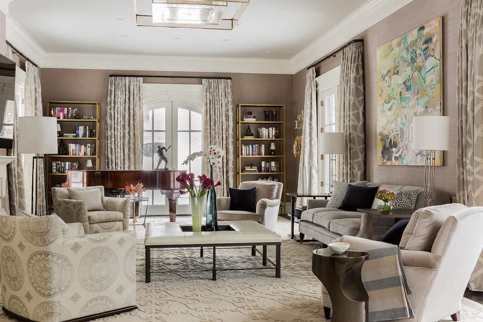 Living room - large transitional formal and enclosed dark wood floor living room idea in Boston with no tv and brown walls