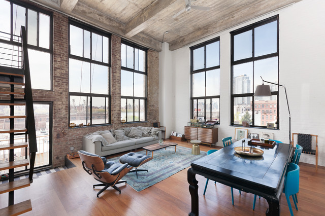 Brooklyn NY Williamsburg LoftIndustrial Living Room New York
