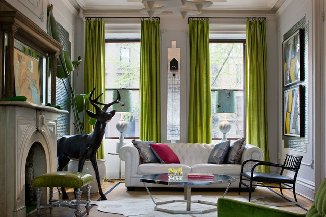 green curtains for living room. Brooklyn Residence by Fawn Galli Interior Design eclectic living room  Eclectic