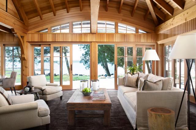 Living room - rustic open concept living room idea in Minneapolis