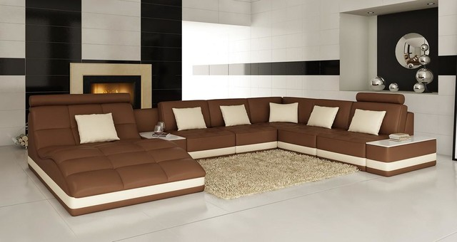 Brown And White Bonded Leather Sectional Sofa With Chaise Modern Living Room
